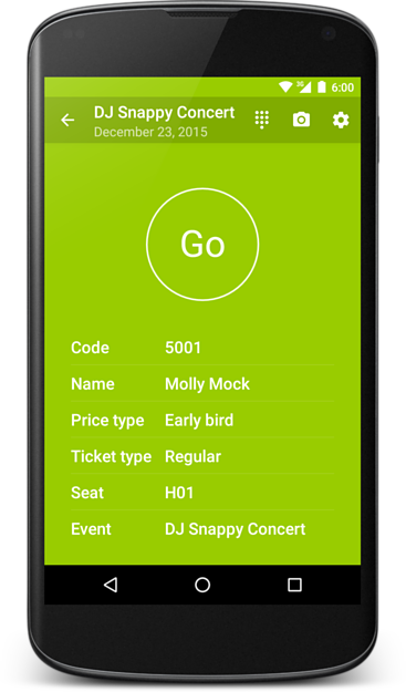 Screenshot of Ticketmatic Scanning